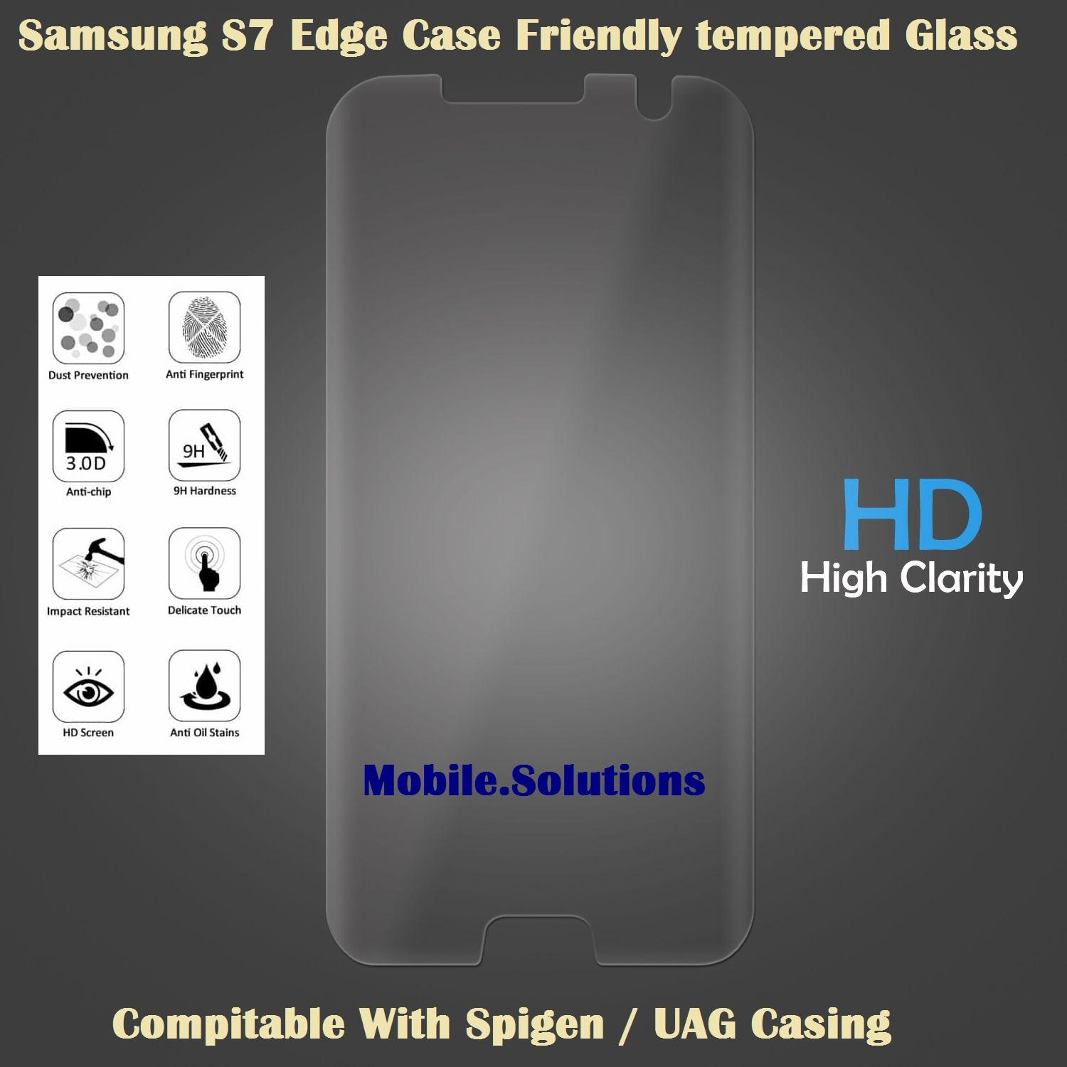 Samsung S7 Edge Full Coverage Tempered Glass (Case Friendly) (Clear)