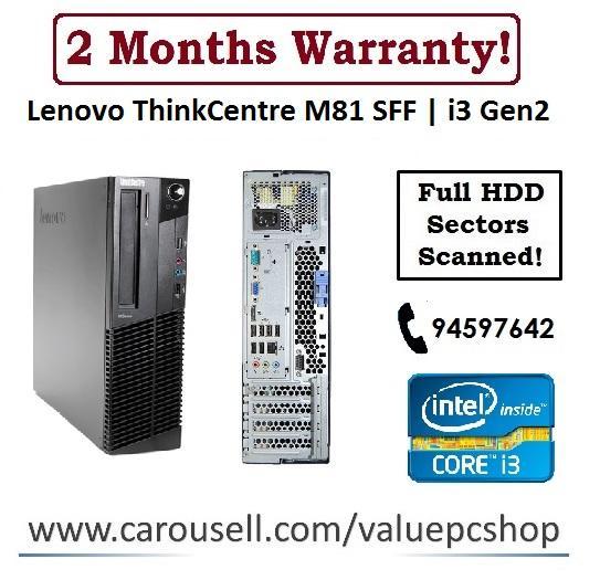 Core i3 Gen2: Lenovo M81 / 4GB RAM/ 250GB HDD (Refurbished Desktop CPU)