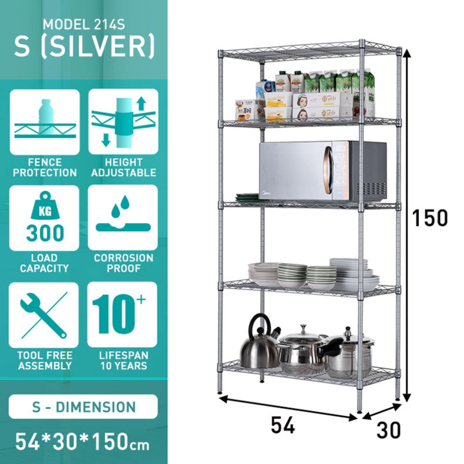 Norzy 5 Tier Multi-purpose Kitchen Storage Rack Kitchen Cooker Organizer Shelf Silver 214S