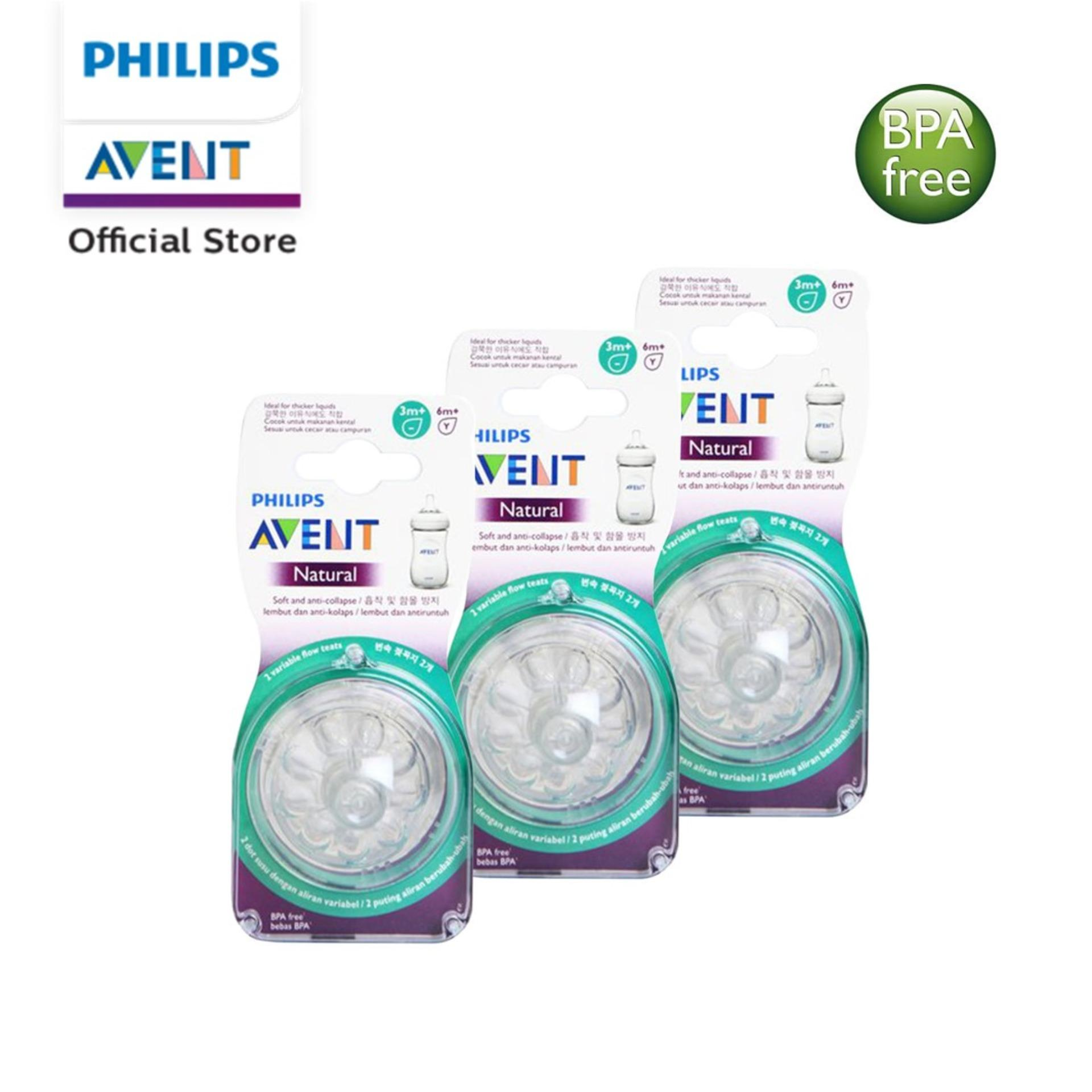 Philips Avent Natural teats variable flow 3m+ (2pcs / pack X 3packs)