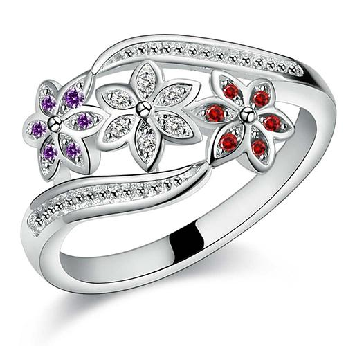 Bluelans Women's Cute Flowers 925 Sterling Silver Ring Charm Zircon Inlaid Party Jewelry Silver US 9 - intl image on snachetto.com