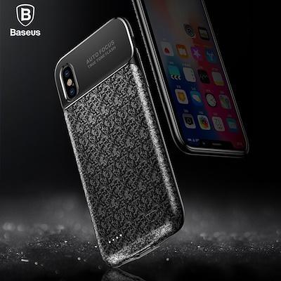 Baseus Plaid Backpack Power Bank Case 3500MAH For iPhoneX Black