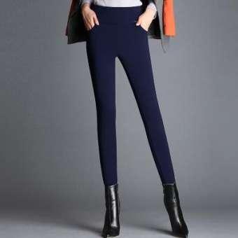 ฤดูหนาวกางเกงขาเดฟใส่เพิ่มกำมะหยี่และหนาขึ้นใส่ด้านนอกกันหนาวเอวสูงความยืดหยุ่นไซส์พิเศษไซส์ใหญ่พิเศษไขมัน MM200 ปอนด์กางเกงสตรีสีดำกางเกงขาเล็ก