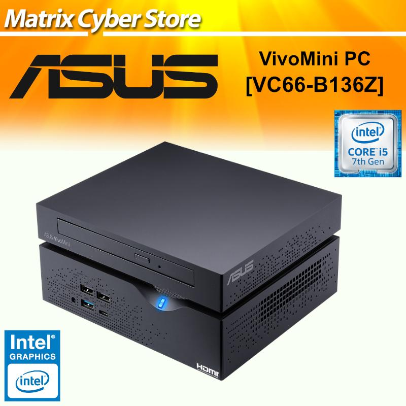 ASUS VC66 - B136Z VivoMini PC with Intel Core i5-7400 and integrated 4K UHD graphics (1TB HDD, DVD-RW, 8GB DDR4,...