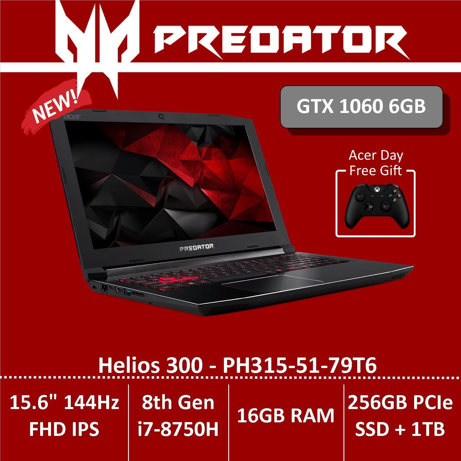 Predator Helios 300 PH315-51-79T6 Gaming Laptop with GTX1060 Graphics – Free Xbox Wireless Controller