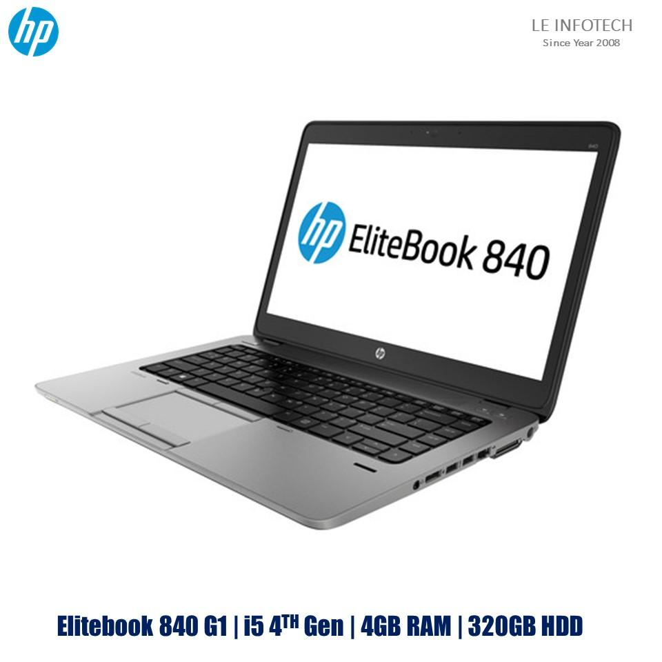 HP Elitebook 840 G1 14in Core i5-4300U@1.9Ghz 4th Gen 4GB RAM 320GB HDD Win 10 Pro Bluetooth Webcam Used