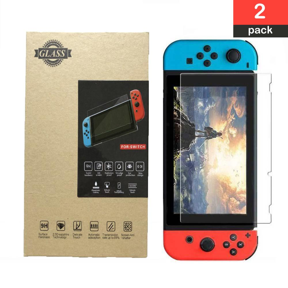(2 Pack) Screen Protector for Switch, Tempered Glass Screen Protector for Nintendo Switch HD Protective Film Anti Scratch 0.26mm/9H Hardness