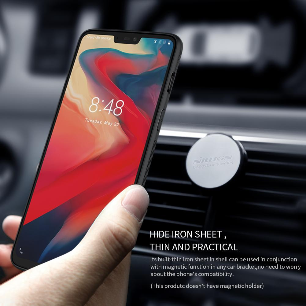 Nillkin Synthetic Fiber Case With Metal Sheet For OnePlus 6 Casing Cover Full Coverage Carbon