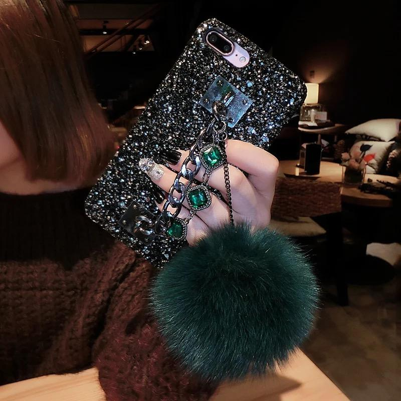 san francisco da257 0ad29 For OPPO A3 Back Covers Girls Womens' Bling Glitter Cases For IphoneX  Luxury Fur Ball Chain Case For OPPO A3 Capas