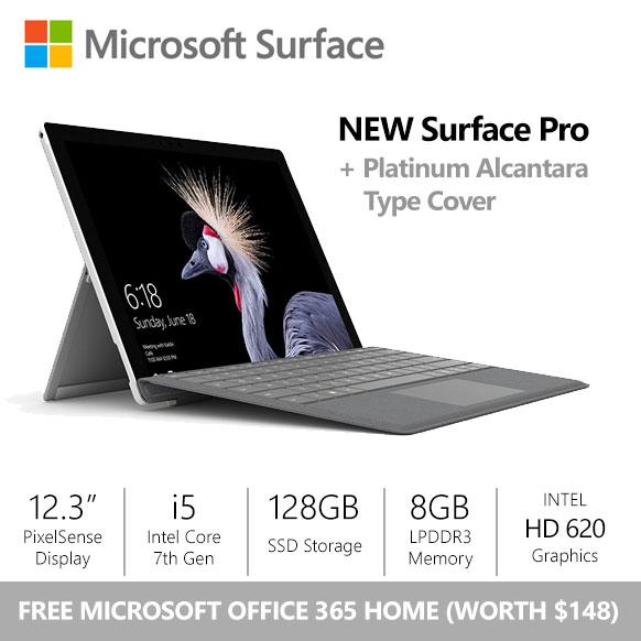 [FLASH SALE] Surface Pro (2017) i5 / 8gb / 128gb + Platinum Alcantara Type Cover + Office 365 Home Bundle