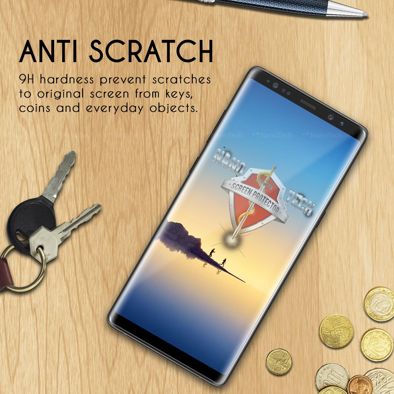 [FreeGift] Nanotech Samsung Galaxy Note 9 Case-Friendly Curved Tempered Glass Screen Protector [Black, Curved Coverage]