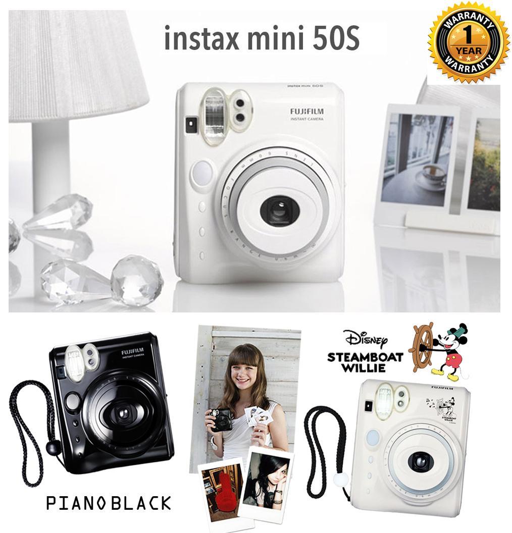 Fujifilm Instax® Mini 50 in Piano Black/White/Mickey Steamboat Willie with 1 year warranty