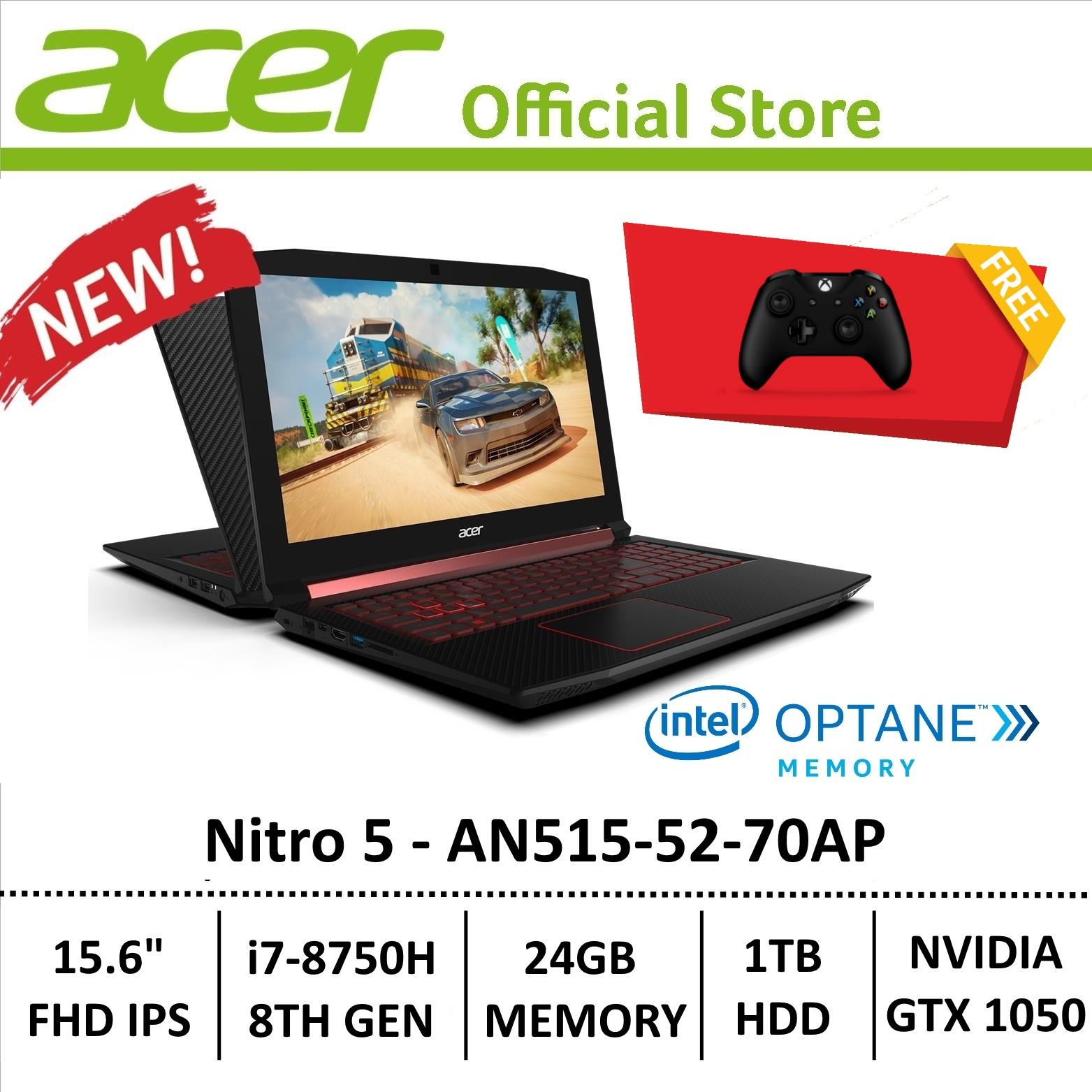 Acer Aspire Nitro 5 AN515-52-70AP Gaming Laptop – 8th Generation Core i7+ Processor with GTX 1050 Graphics (Optane Memory) + free xbox wireless controller