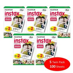 Fujifilm Instax Mini Plain Film 100 Sheets / 5 Twin Box for Instax Camera mini 7s mini 8 9 mini 25 mini 50s mini 90 SP 1 2 Printer