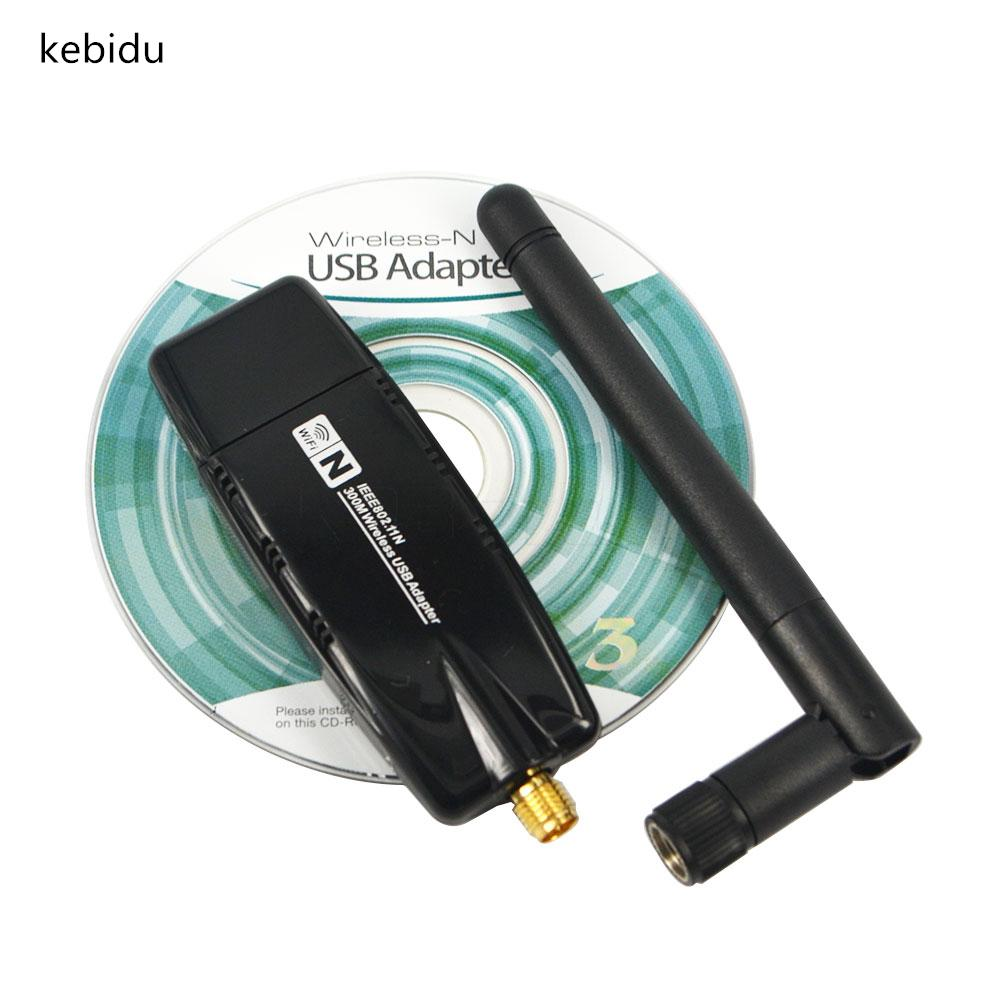 Kebidu USB 2.0 WiFi Network Lan Card 300 Mbps Wireless 2.4G Wifi Adapter With Antenna Realtek For windows XP Vista 7 MAC OS