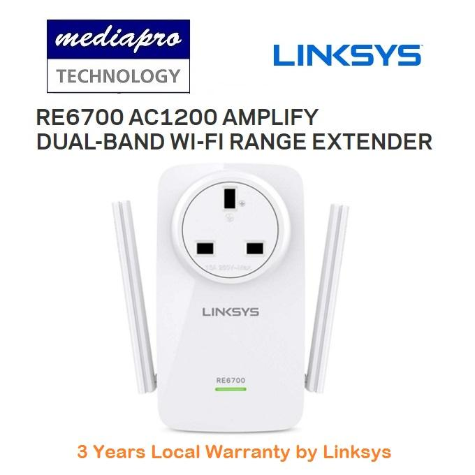 Linksys RE6700 AC1200 Amplify Dual-Band WI-FI Range Extender with with a  Gigabit port - 3 Year Local Linksys Warranty