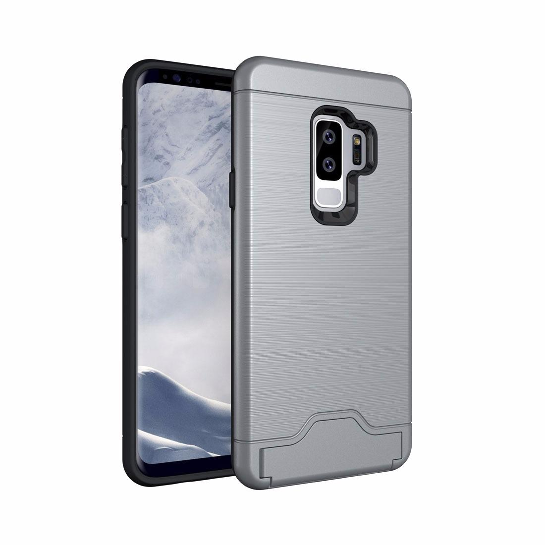 For Samsung Galaxy S9 plus Brushed Texture Protective Back Case with Holder & Card Slot