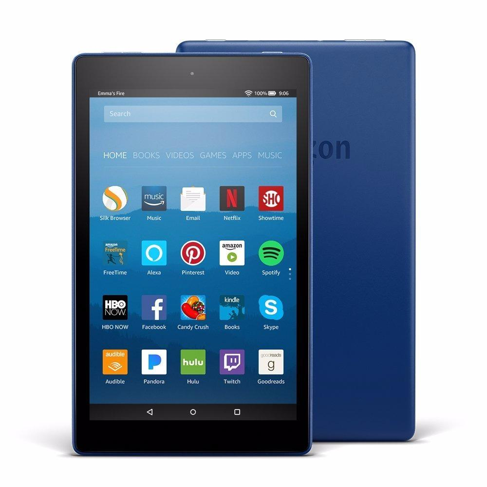 Latest 8th generation, 2018 Amazon Fire HD 8 Tablet with Alexa, 8″ HD Display, 16 GB, Blue