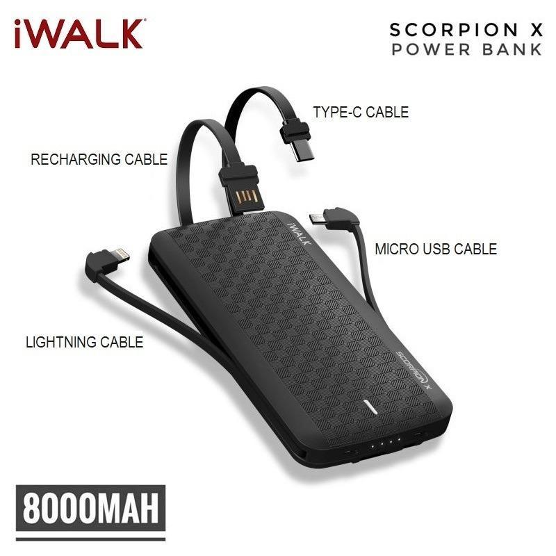 iWalk Scorpion 8000X Powerbank Built-in 4 in 1 Cables 8000mAH