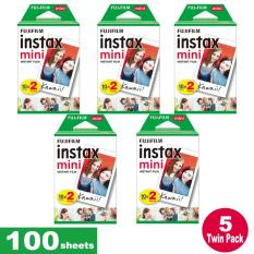 Fujifilm Instax Mini Plain Film 100 Sheets – 5 Twin Pack for Instax Camera mini 7s mini 8 9 mini 25 mini 50s mini 90 SP 1 2 Printer