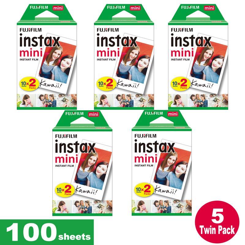 Fujifilm Instax Mini Plain Film 100 Sheets – 5 Twin Pack for Instax Camera mini 7s mini 8 9 mini 25 mini 50s mini 90 SP 1 2 Printer