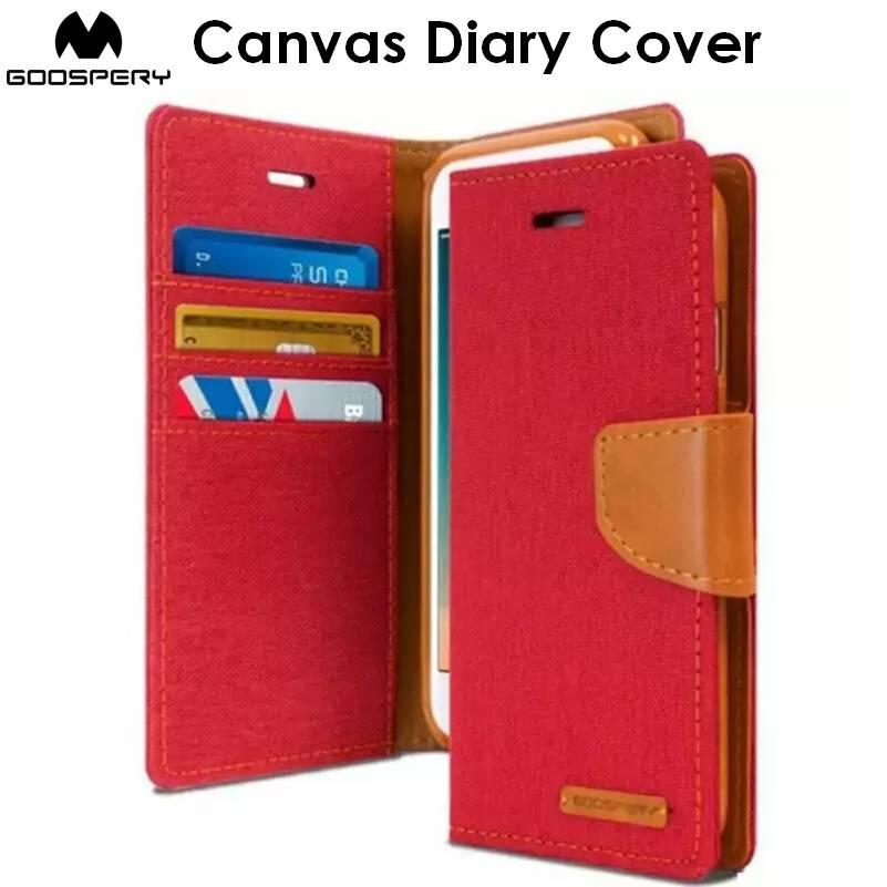 Goospery Canvas Diary Cover Case Cases Casing Card Slot Holder For iPhone 6 / 6S