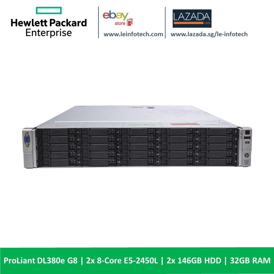 """HP Proliant DL380e G8 Server 2x 8-Core E5-2450L #1.8Ghz 32GB RAM 2x 146GB SAS 15K 24x 2.5"""" HDD 2x PSU One Month Warranty"""