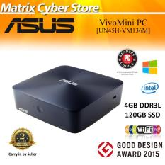 ASUS UN45H-VM136M Vivo mini PC, Intel Celeron Quad-core N3150, 120GB SSD, 4GB DDR3L, Windows 10 Home, 802.11ac, BT 4.0, USB 3.1, HDMI, G-LAN, VESA-Mount, 2 Years Carry-in Warranty