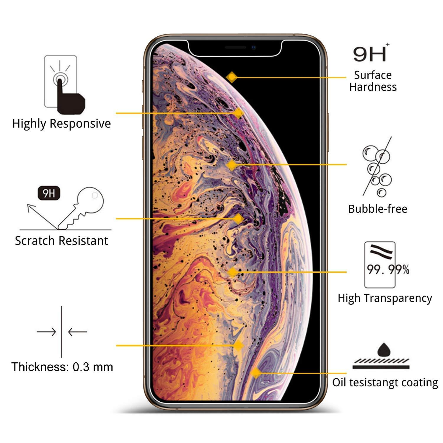 iPhone XS Max 6.5 Tempered Glass Screen Protector (Clear)