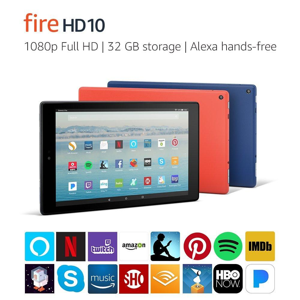 Amazon Fire HD10 Tablet with Alexa Hands-Free, Full HD 10.1″ 1080p Display, 32 GB, 2017 Edition