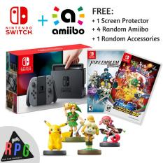 Nintendo Switch Grey Bundle Promo! (Nintendo Switch Grey + 4 Amiibo + 2 Switch Games + 1 Screen Protector + 1 Random Accessories) Local Set With 12 Months Warranty