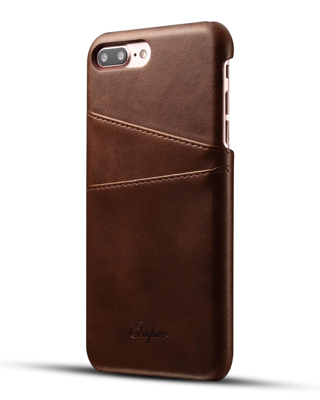Luxury High Quality PU Leather Slim iPhone Armor Case /Cover with 2 Credit Card Holder Slot For Apple iPhone 7 plus and iPhone 8 plus (5.5 inch). Perfect Protect. For Khaki/Red/Brown/Black