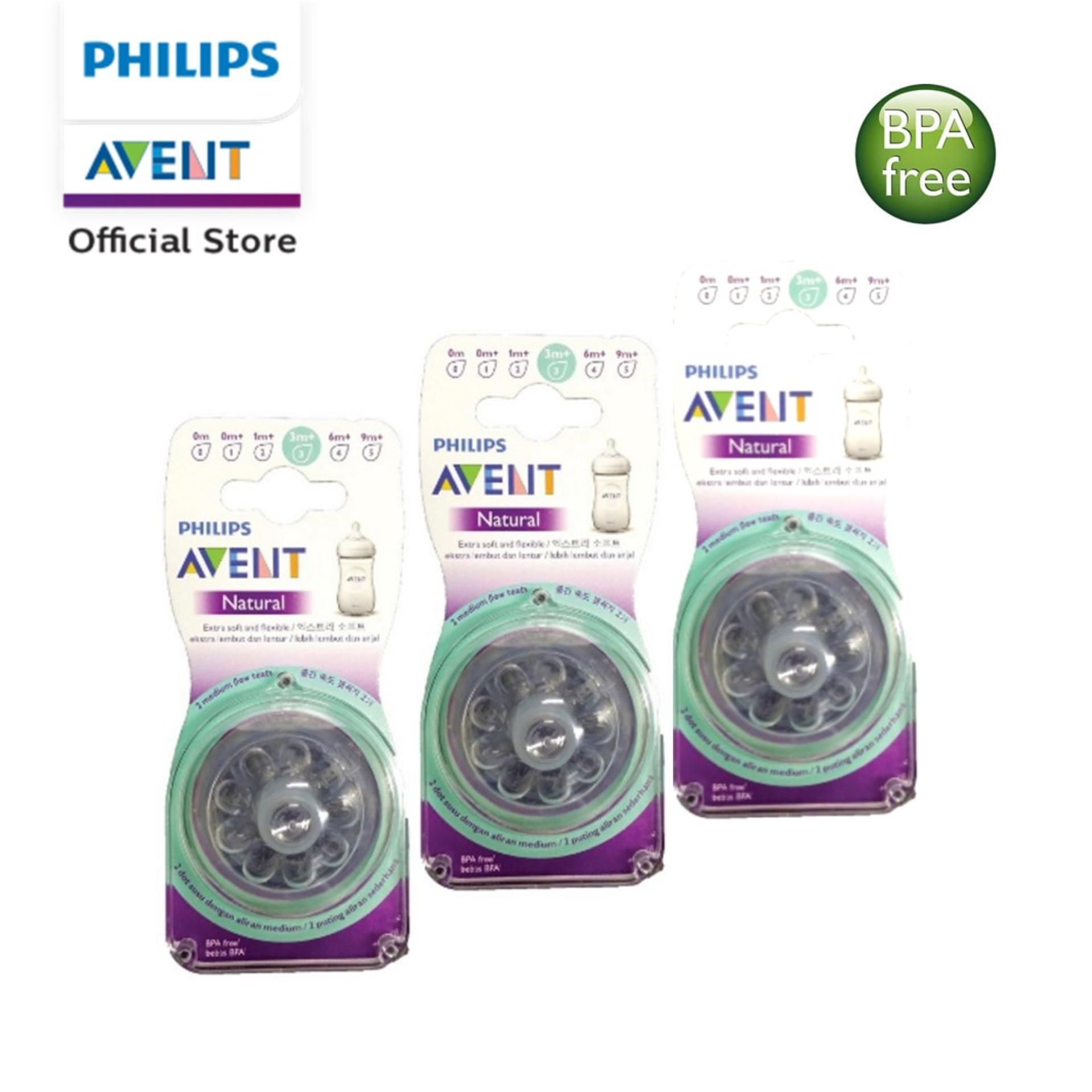 Philips Avent natural teats 3H medium flow 3m+ 2pcs/pack X 3 pack