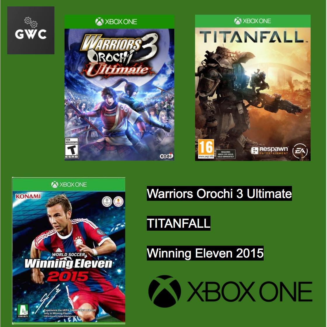 XBOX ONE Games x 3 (Warriors Orochi 3 Ultimate, Titanfall, Winning Eleven 2015)
