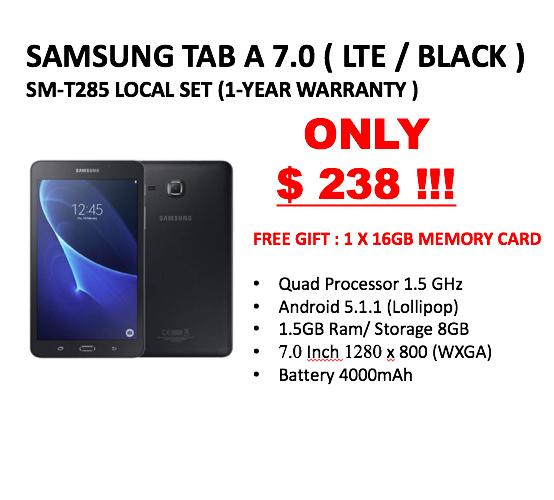 SAMSUNG TAB 7.0 BLACK / LTE ( LOCAL SET WITH 1 YEAR WARRANTY ) + FREE GIFTS!!!