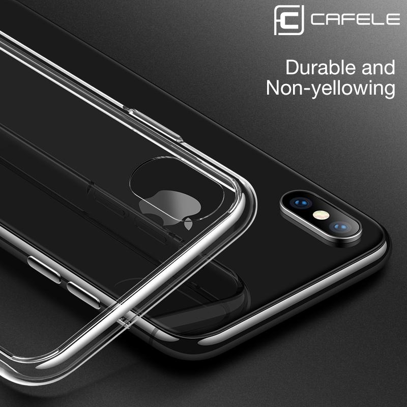 iPhone XS Max Tempered Glass Case, CAFELE Crystal Clear Ultra Slim Design Soft Shock Absorbent Edges Case [Drop Protection][Scratch Resistant][Clear...
