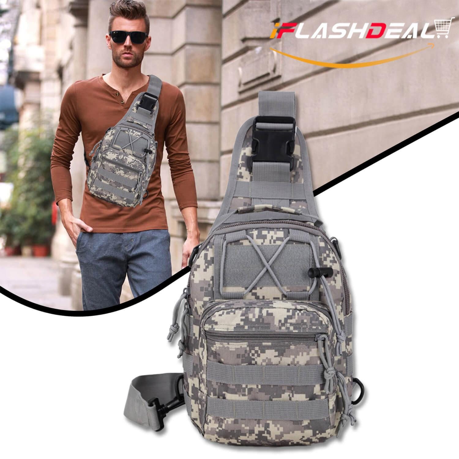 iFlashDeal Tactical Sling Bag Men Crossbody Bas Outdoor Chest Pack Shoulder Backpack Military Sport Cross Body Bag for Trekking, Camping, Hiking, Rover Sling Daypack for Men Women