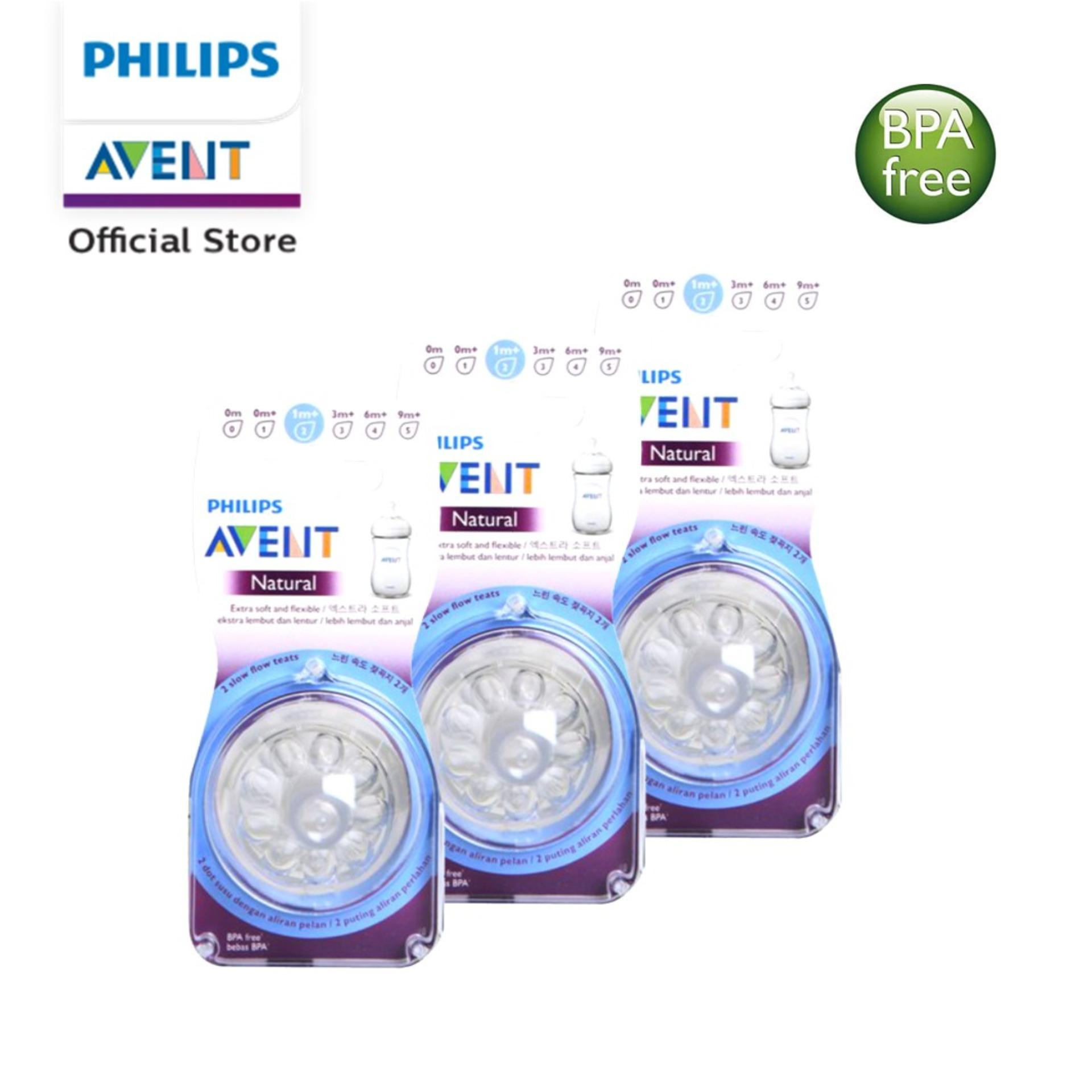 Philips Avent Natural Teat Slow Flow 1m+ 2pcs/Pack x 3