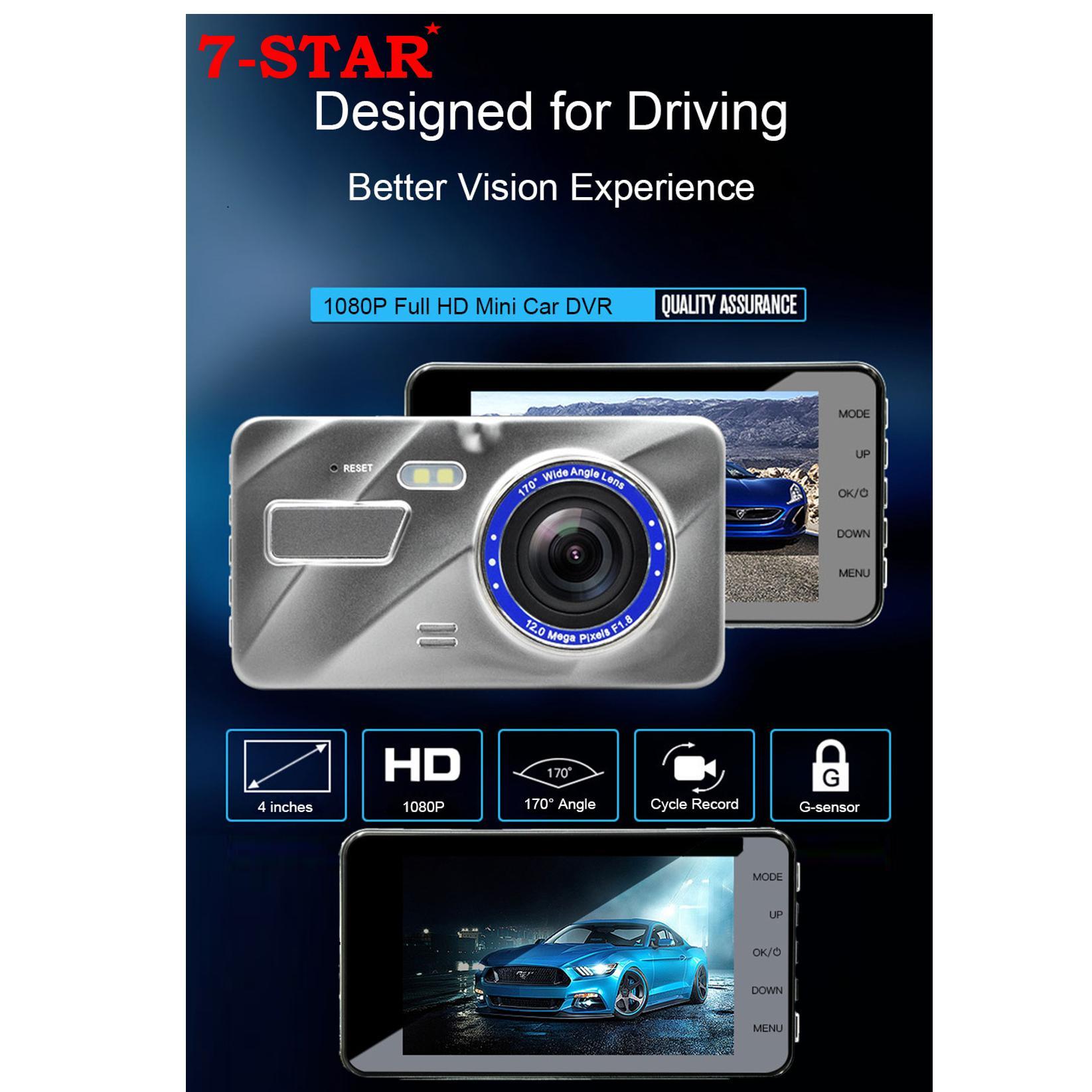 "Full-HD 1080P Dual-Lens Car mini DVR Dash Cam car Recorder (4""Crystal Glass Display Screen) – Front & Back Car Camera"