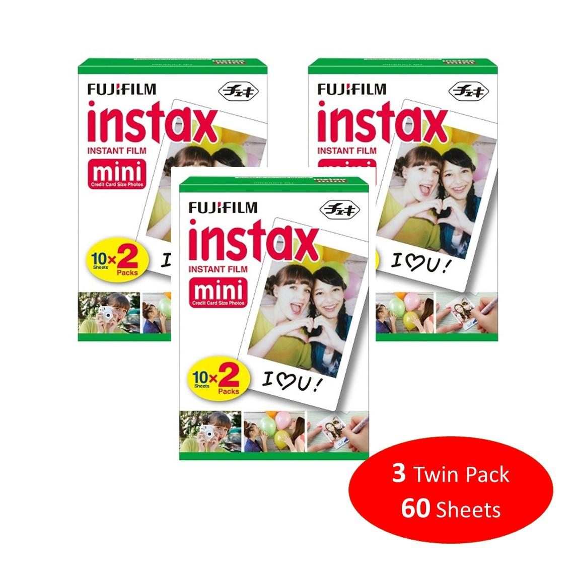 Fujifilm Instax Mini Plain Film 60 Sheets / 3 Twin Box for Instax Camera mini 7s mini 8 9 mini 25 mini 50s mini 90 SP 1 2 Printer