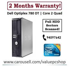 Core 2 Quad: Dell Optiplex 780 DT/ 4GB RAM/ 250GB HDD (Refurbished Desktop CPU)