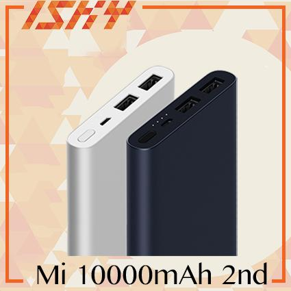 New 2018 Xiaomi Mi Powerbank 2 10000mAh (Black) Dual Port Power Bank