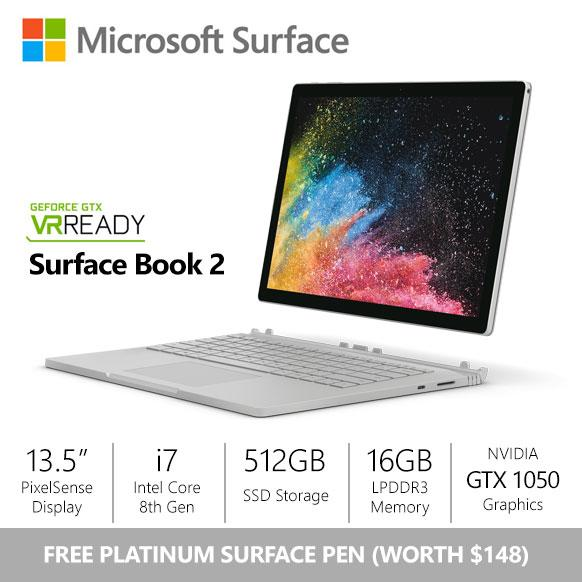 [SALE] Microsoft Surface Book 2 – 13.5″/Core i7/16gb/512gb + dGPU + New Surface Pen Bundle