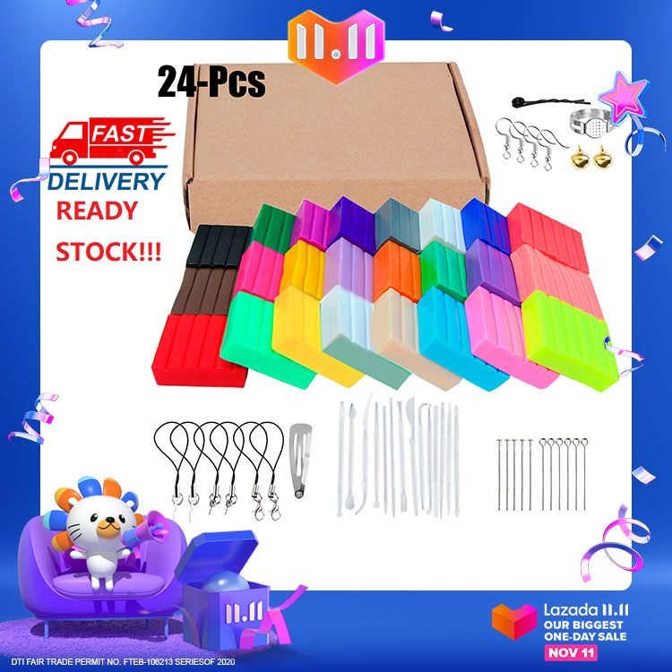 24 Colors Polymer Clay Oven Bake Modeling Clay DIY Clay with Modeling Tools and Jewelry Accessories