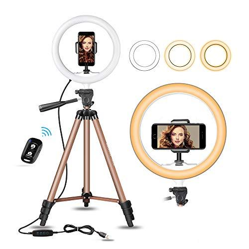 Dimmable Led Camera Beuty Ringlight for YouTube Video//Photography Compatible for iPhone and Android LED Ring Light 10 Selfie Ring Light with Tripod Stand /& Cell Phone Holder for Live Stream//Makeup