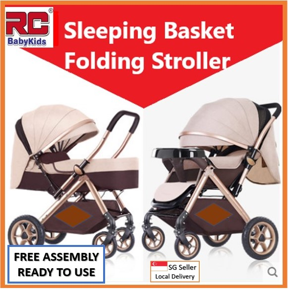 RC-BabyKids 2020 New Version 2 Way Reversible Baby Prams Sleeping Basket Folding Stroller Children Travel Buggy Infant Pram Kid Pushchair Carriage Toddler Travel Car Front Back Facing, 4 Wheels Shock Absorber Fordable Can Lay Flat Suitable For New Born