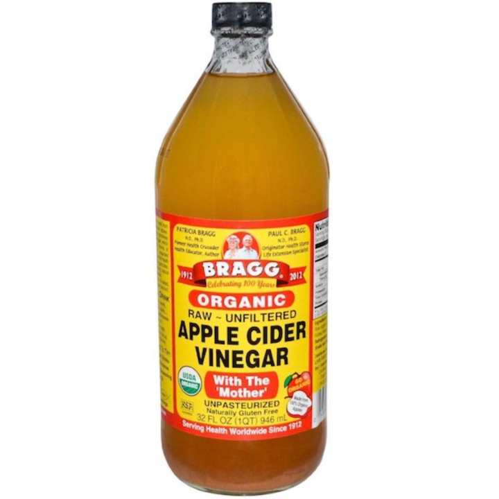BRAGGS Apple Cider Vinegar 946mL Organic, Raw, Unfiltered, with the 'Mother' (Naturally Gluten Free - Certified Non-GMO)