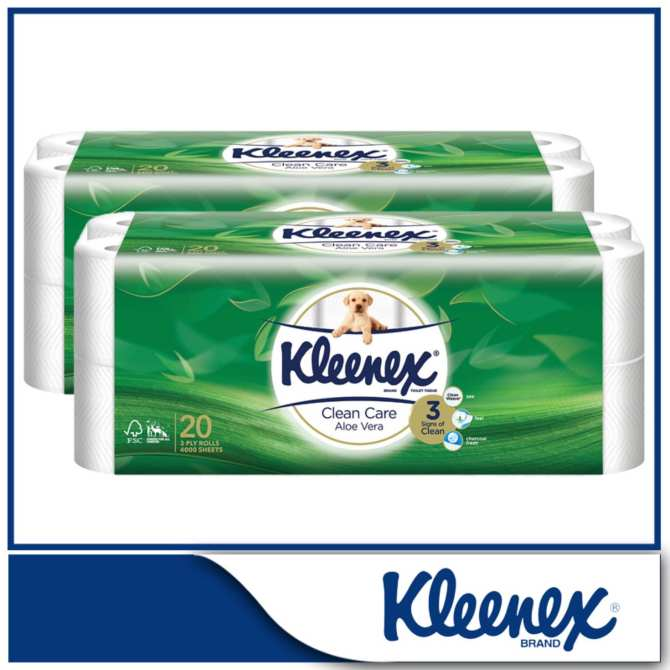 Kleenex Clean Care Bath Tissue Aloe Vera 20x200sheets x 2