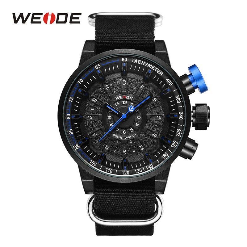 WEIDE Men Sports Watches Military Black Nylon Strap White Dial Quartz Movement Analog Male Clock Wristwatches Relogio Masculino
