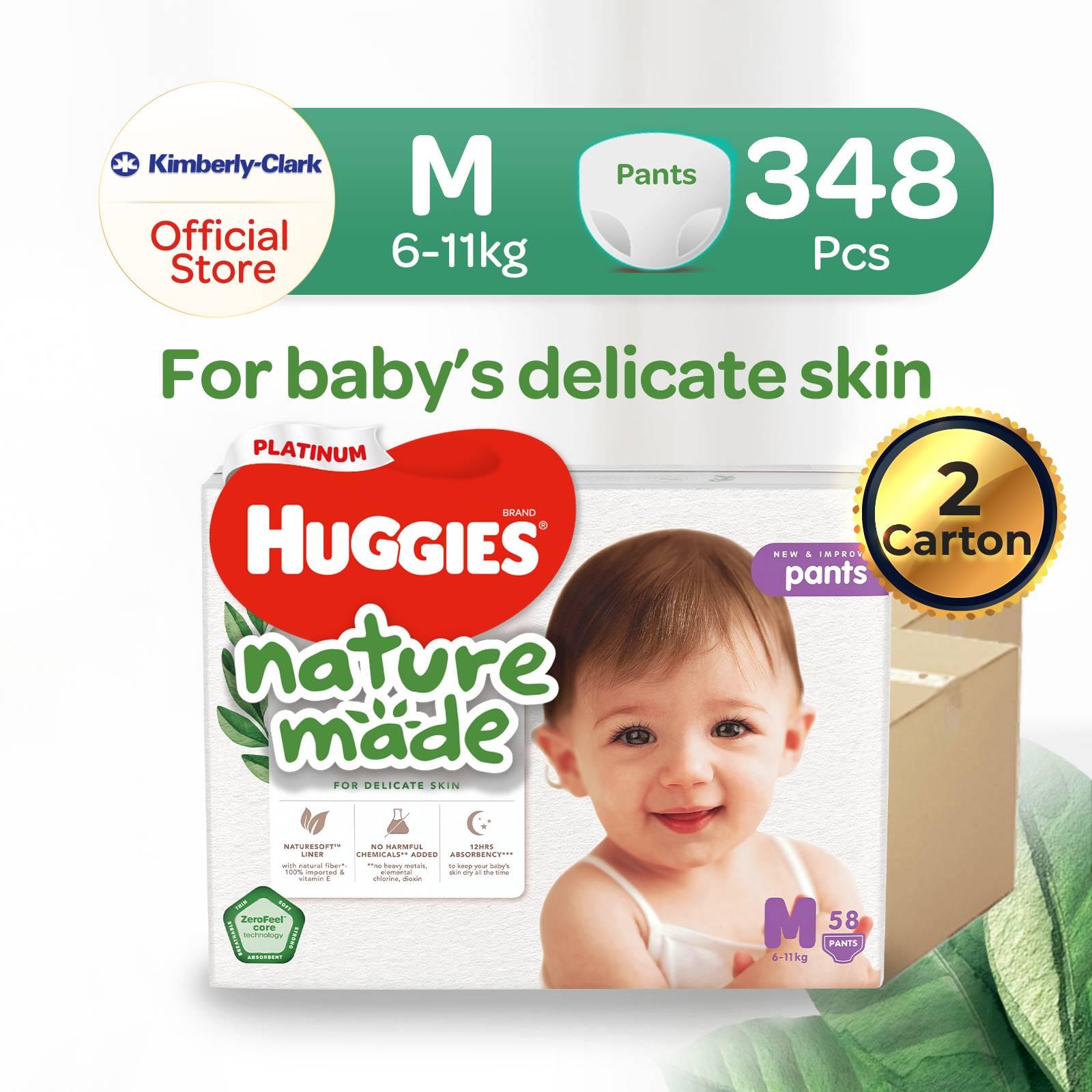 [2 Carton] Huggies Platinum Naturemade Pants M x6 packs 348pcs